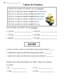 Place Value Worksheet- French Immersion