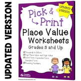 Place Value Worksheets (New Version w/ Decimal Place Value