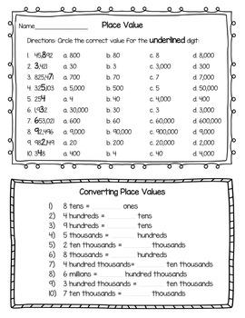 Place Value Worksheets (4.NBT.1 & 4.NBT.2)
