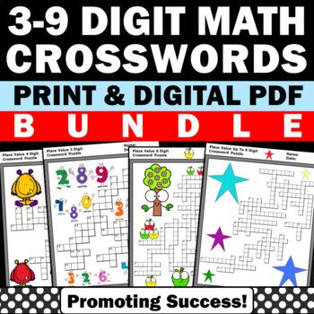 Place Value Worksheets Bundle, Special Education Math Crossword Puzzles