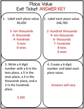 Place Value (Worksheets & Exit Tickets)