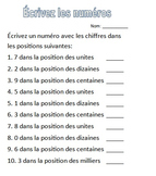 Place Value Worksheets - French
