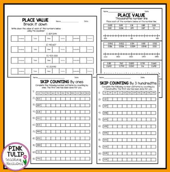 Place Value Worksheets- Millions, Thousands, Tenths, Hundredths