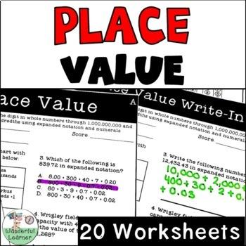 Place Value 20 Worksheets No Prep TEKS 4.2B, CCSS.4.NBT.A.2