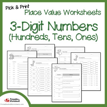 Place Value Worksheets 3 Digit, Place Value Hundreds Tens and Ones Worksheets