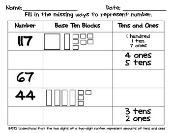 place value worksheets base 10 blocks by charlotte tpt. Black Bedroom Furniture Sets. Home Design Ideas