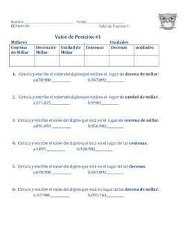 Place Value Worksheets in Spanish