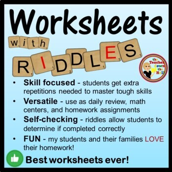 Place Value Worksheets w/ Riddles! Grades 2-3