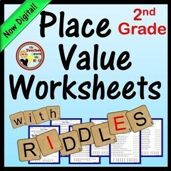 Place Value Worksheets w/ Riddles!  Grades 2-3