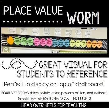 Place Value Worm Bulletin Board Plus Student Manipulative