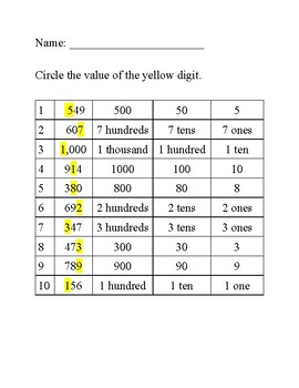 Place Value Worsheet