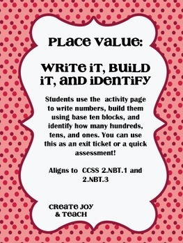 Place Value: Write It, Build It, and Identify