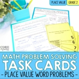 2nd Grade Place Value Math Word Problem Task Cards | Print