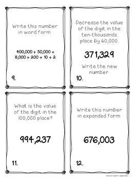 Place Value Writing Larger Numbers 100,000 Place - Task Cards & 10 Activity Page