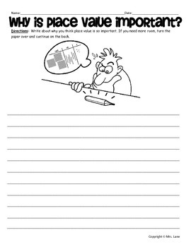 Place Value Writing Prompt Worksheets