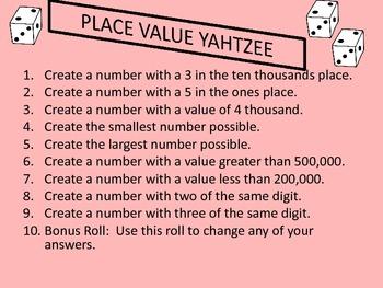 Place Value Yahtzee