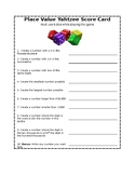 Place Value Yahtzee Score Card