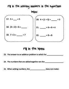 Place Value and Addition Test