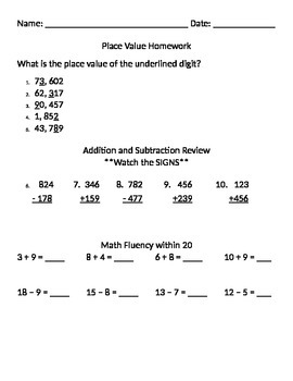 Place Value, and Addition and Subtraction Review