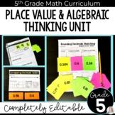 Place Value and Algebraic Thinking Unit