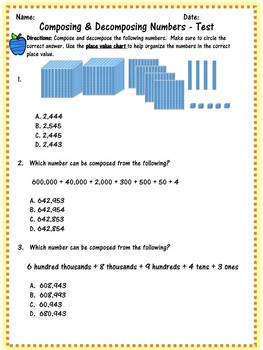 Place Value and Comparing Numbers Test Bundle