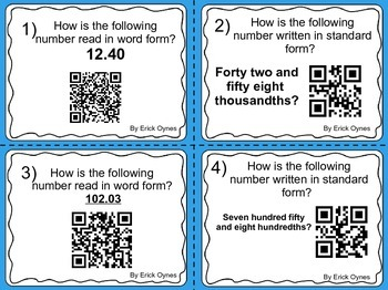 Place Value and Decimal Place Value Task Cards With QR Codes!