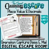 Place Value and Decimals Digital Escape Room Fifth Grade Math Content