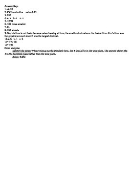Place Value and Multi-digit Multiplication Quiz
