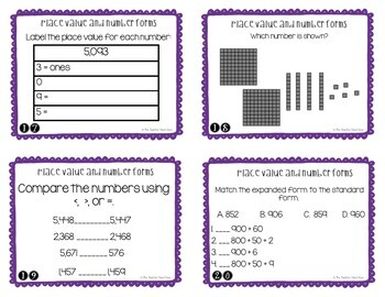 Place Value and Number Forms Task Cards for 4th Grade