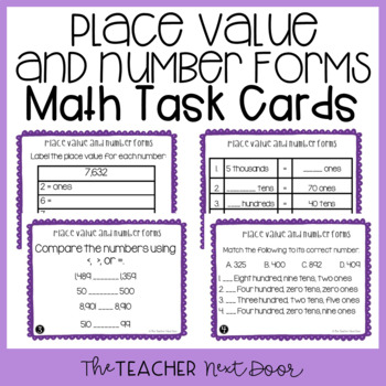 4th Grade Place Value and Number Forms Task Cards   Place Value Center
