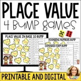 Place Value and Number Sense Bump Games-Popcorn Themed