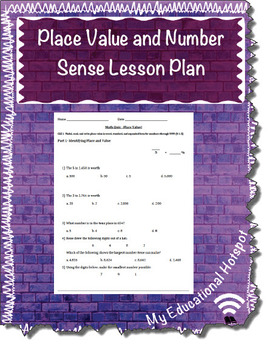 Place Value and Number Sense Lesson Placket