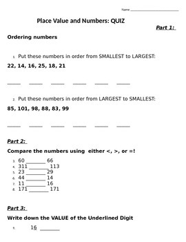 Place Value and Numbers: QUIZ