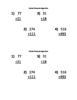 Place Value and Partial Sums Algorithm Sheets