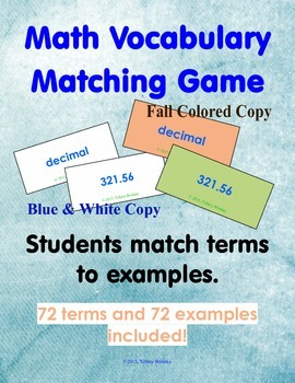 Place Value and Real Number Match Game