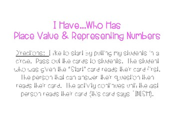 Place Value and Representing Numbers I Have...Who Has