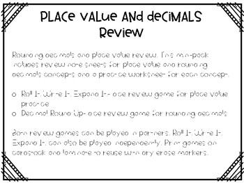 Place Value and Rounding Decimals Quick Review