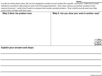 Place Value and Rounding Depth and Complexity Frame, Organizers, and Task Cards