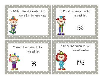 Place Value and Rounding Scoot Shuffle Activity Game 3.NBT.1