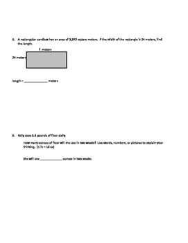 Place Value and Standard Algorithm Unit Test
