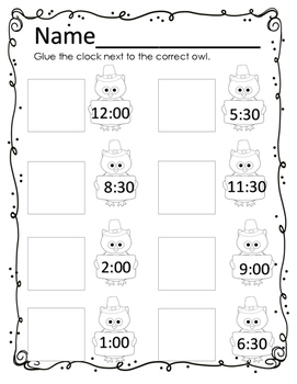 Place Value and Telling Time(Analog) Review-Thanksgiving and Owl Themed Review