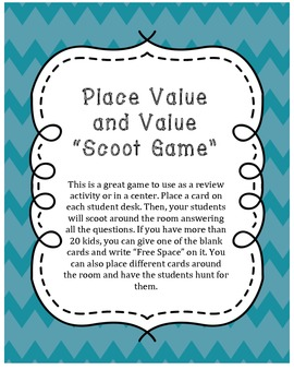 Place Value and Value Scoot Game