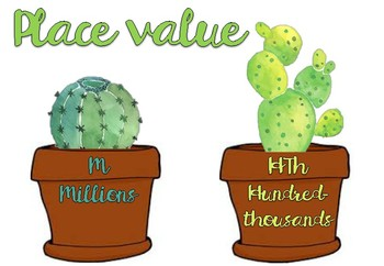 Place Value chart Cactus Themed