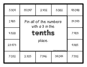 Place Value - (decimals - tenths, hundredths, thousandths) - Math Centers