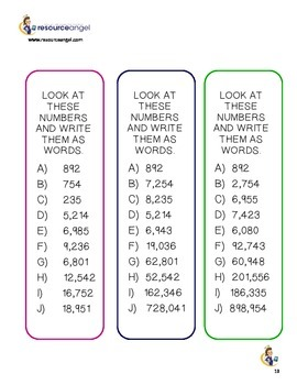 Place Value printables - differentiated for journals: Math activities