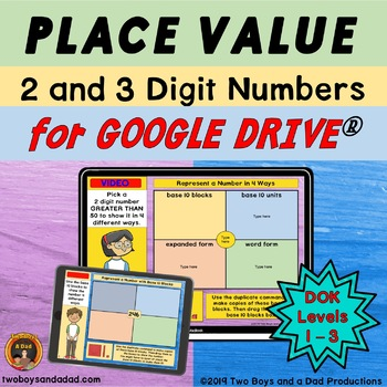 Place Value for Google Slides 2 and 3 Digit Numbers