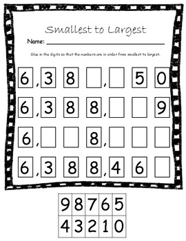 Place Value for Large Numbers up to A Million Cut and Paste