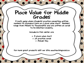 Place Value for Middle Grades Game