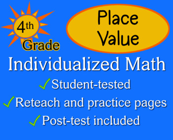 Place Value, fourth grade - Individualized Math - worksheet set / pack