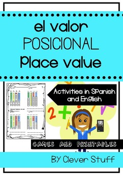 Place Value game and activities in English and Spanish. El Valor Posicional.